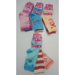 300 of Girls Printed Crew Socks 6-8