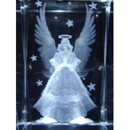 24 of 3d Laser Etched CrystaL-Angel With Stars