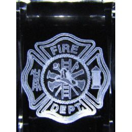 24 of 3d Laser Etched CrystaL-Fire Department