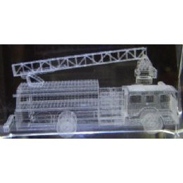 24 of 3d Laser Etched CrystaL-Firetruck