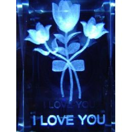 48 of 3d Laser Etched CrystaL-I Love YoU-3 Flowers