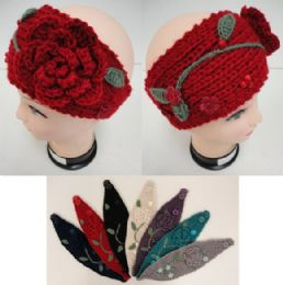 12 of Hand Knitted Ear BanD--Flower & Leaves