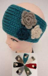 12 of Hand Knitted Ear BanD--Multi & Flower