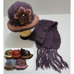 72 of Hand Knitted Fashion Cap & Scarf SeT--Lg Flower