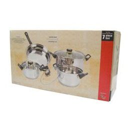4 of 7 Pc Stainless Steel Cooking Set With Glass Lid