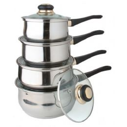 4 of 8 Pc Stainless Steel Sauce Pan Set With Lids