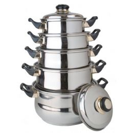 4 of 10 Pc Stainless Steel Cooking Set With Lids