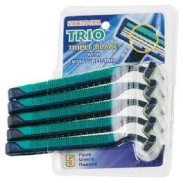 108 of Item# 1016 5 Pack Stainless Steel Triple Blade Razors
