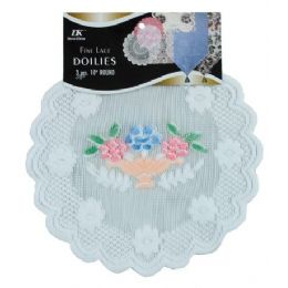 """144 of 3 Pc 10"""" Rd Airbrushed Lace Doilies"""