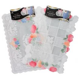 """144 of 2 Pc 13"""" X18"""" White/beige Lace Placemats"""