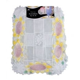 """144 of 2 Pc 13""""x18"""" Sunflower Lace Placemats"""