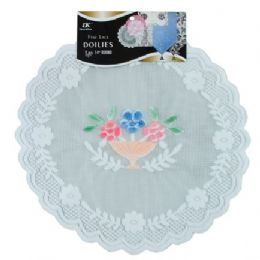 """144 of 2 Pc. 14"""" Rd. Airbrushed Lace Doilies"""