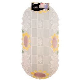 """144 of 15""""x30"""" Oval Lace Sunflower Runner"""