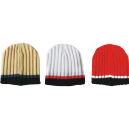 144 of Mens Striped Ribbed Hat