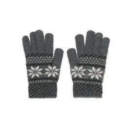 72 of Snow Flake Knit Glove One Size Fits All , Assorted Colors