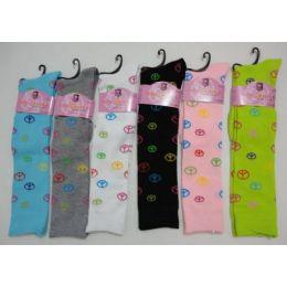 120 of Ladies Knee High Socks 9-11 [peace Signs]