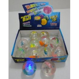144 of 2.5inch Light Up Bouncing Glitter BalL-Fish