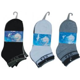 72 of 3 Pair Solid Ankle Sock For Kids Size 6-8 (usa Flag Print)