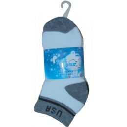 72 of 3 Pair Solid Cotton Ankle Sock For Kids Size 6-8 Usa
