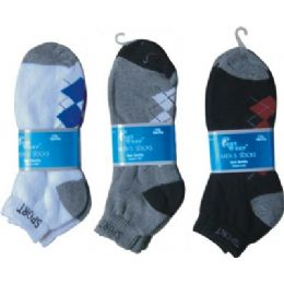 144 of 2 Pair Mens Argyle Ankle Sock 9-11
