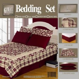 4 of 6 Piece Bed In A Bag Set Burgandy Queen Size