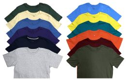 12 of Mens Cotton Crew Neck Short Sleeve T-Shirts Mix Colors, 3X LARGE