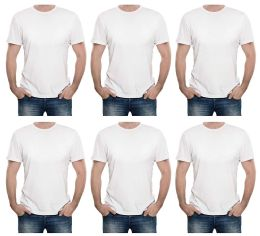 6 of Mens Cotton Short Sleeve T Shirts Solid White Size L