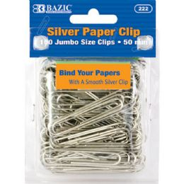 24 of Jumbo (50mm) Silver Paper Clip (100/pack)