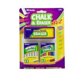 24 of 12 Color & 12 White Chalk W/ Eraser Set