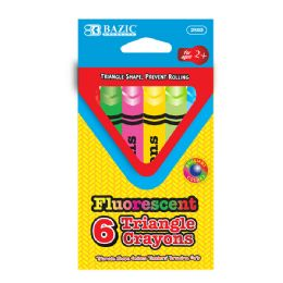 24 of 6 Fluorescent Color Triangle Crayon