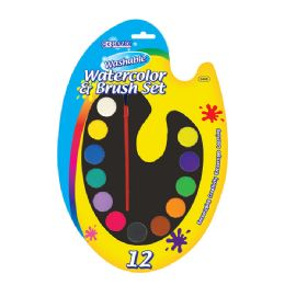 24 of Washable Watercolor Paint Palette With Brush