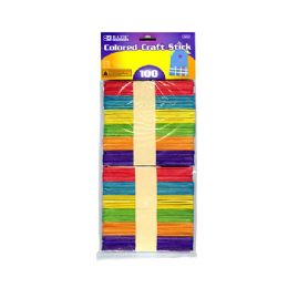 24 of Colored Craft Wooden Stick 100 Pack