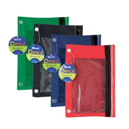 24 of 3-Ring Pencil Pouch W/ Mesh Window