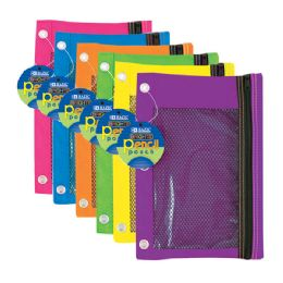24 of Bright Color 3-Ring Pencil Pouch W/ Mesh Window