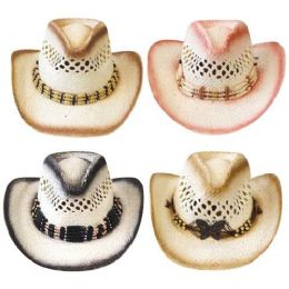48 of Cowgirl Hat 3 Assorted Colors