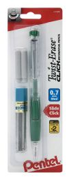 12 of TwisT-Erase Click Mechanical Pencil 0.7mm Clear Barrel Asst Grip Colors With Lead And 2 Erasers 1-pk