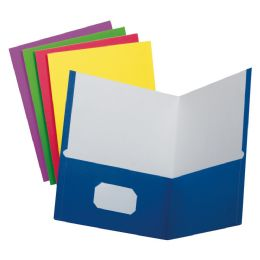 50 of School Grade Two Pocket Portfolio, Assorted Colors, 25 Pack