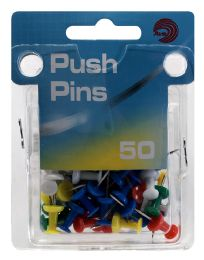 24 of Ava Push Pins Assorted Colors 50 Count