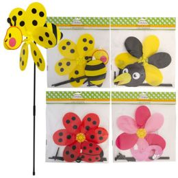 24 of Windmill Yard Stake Plastic 27in 3d Bee/ladybug/flamngo/crow Pbh