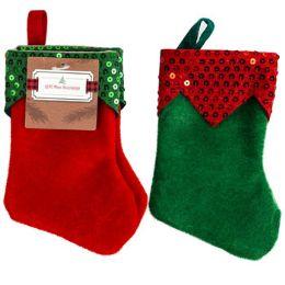 48 of Stocking Mini Elf 2pk Felt 7in Green/red W/sequin Cuff Ht/jhook