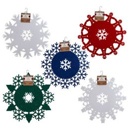48 of Doily Felt Round Christmas 12in 5ast Colors/shapes Xmas ht