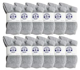 240 of Yacht & Smith Kids Cotton Crew Socks Gray Size 6-8
