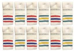 240 of Yacht & Smith Kids Cotton Tube Socks Size 6-8 White With Stripes Bulk Pack