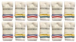 240 of Yacht & Smith Kids Cotton Tube Socks White With Stripes Size 4-6 Bulk Pack