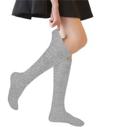 48 of Yacht & Smith 90% Cotton Girls Heather Gray Knee High, Sock Size 6-8
