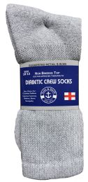 48 of Yacht & Smith Men's Loose Fit NoN-Binding Soft Cotton Diabetic Crew Socks Size 10-13 Gray