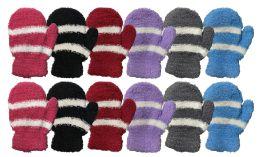 60 of Yacht & Smith Kids Striped Fuzzy Mittens Gloves Ages 2-7