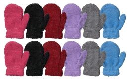 48 of Yacht & Smith Kids Glitter Fuzzy Winter Mittens Ages 2-7