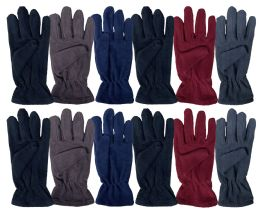 72 of Yacht & Smith Mens Double Layer Fleece Gloves Packed Assorted Colors
