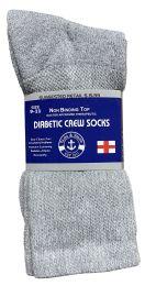 48 of Yacht & Smith Women's Cotton Diabetic NoN-Binding Crew Socks - Size 9-11 Gray